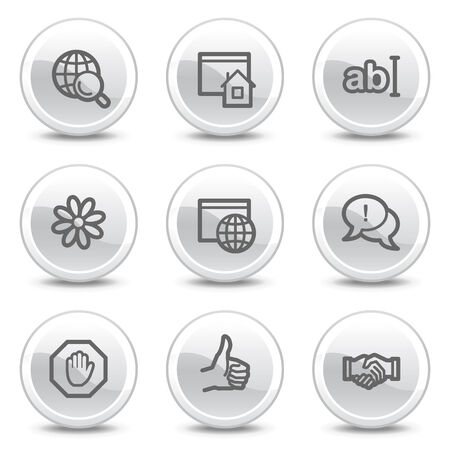 Internet communication web icons, white glossy circle buttons series