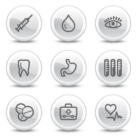 oculist: Medicine web icons, white glossy circle buttons series Illustration