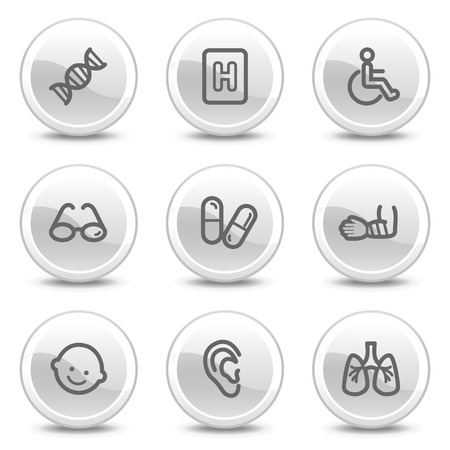 glass break: Medicine web icons set 2, white glossy circle buttons series Illustration