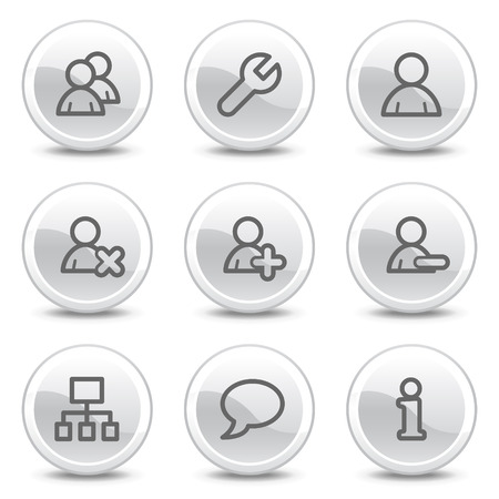 Users web icons, white glossy circle buttons series Stock Vector - 4854705