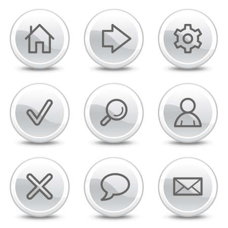 preferences: Basic web icons, white glossy circle buttons series