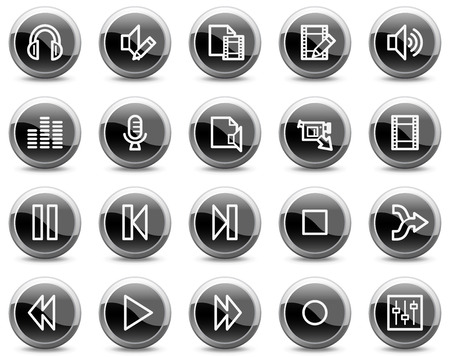 Audio video edit web icons, black glossy circle buttons series Vector