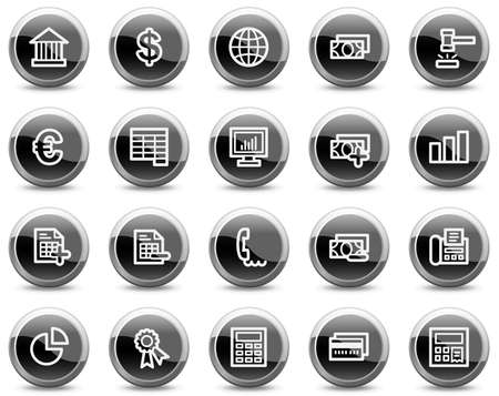 Banking web icons, black glossy circle buttons series Vector