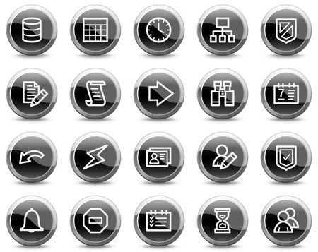 Database web icons, black glossy circle buttons series Illustration