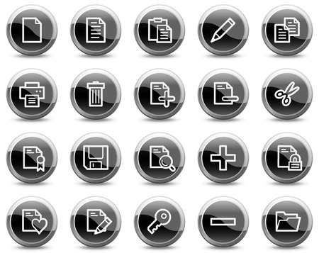 Document web icons, black glossy circle buttons series Stock Vector - 4881259