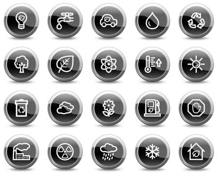 Ecology web icons, black glossy circle buttons series Vector