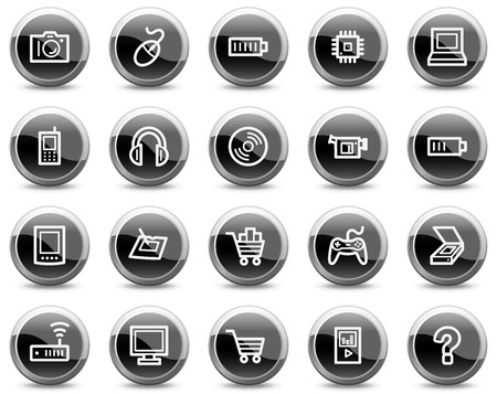 Electronics web icons, black glossy circle buttons series Vector