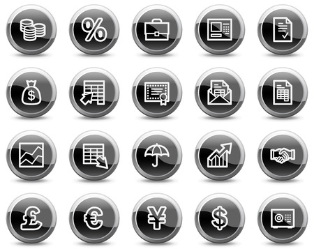Finance web icons, black glossy circle buttons series Vector
