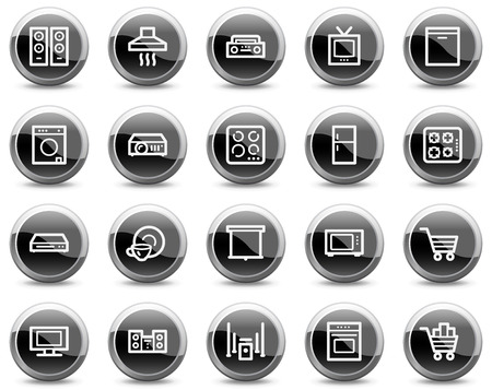 gas laundry: Home appliances web icons, black glossy circle buttons series Illustration