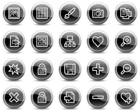 Image library web icons, black glossy circle buttons series Stock Vector - 4884023