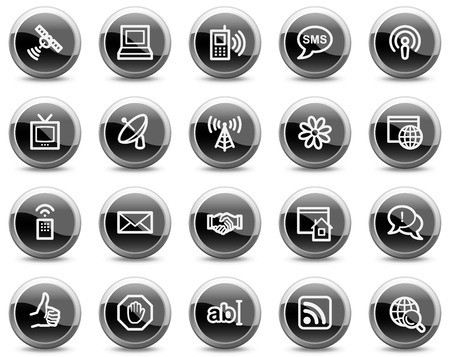 Internet communication web icons, black glossy circle buttons series Illustration