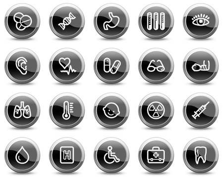 Medicine web icons, black glossy circle buttons series Stock Vector - 4884069