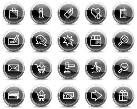 Shopping web icons, black glossy circle buttons series Vector
