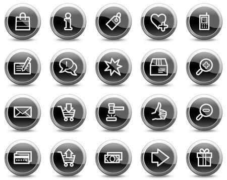 veiling: Winkelen web icons, zwarte glanzende cirkel knoppen serie  Stock Illustratie