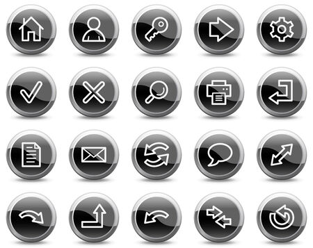 Basic web icons, black glossy circle buttons series