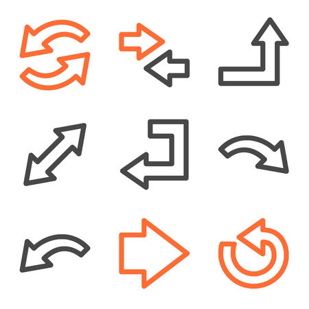 Arrows web icons, orange and gray contour series Vector