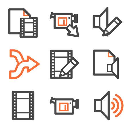 shuffle: Audio video edit web icons, orange and gray contour series Illustration