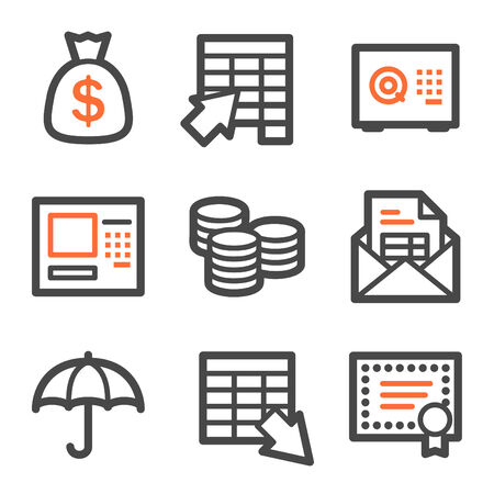 Banking web icons, orange and gray contour series Vector