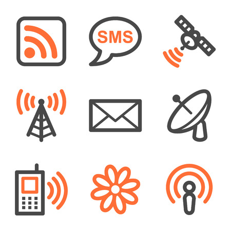 Communicatie web iconen, oranje en grijs contour serie