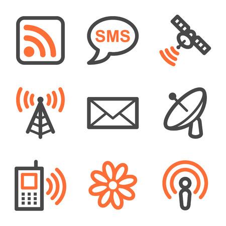 антенны: Communication web icons, orange and gray contour series