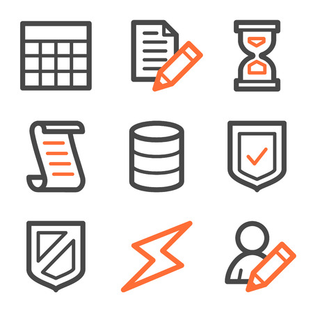 Database web icons, orange and gray contour series Stock Vector - 5042185