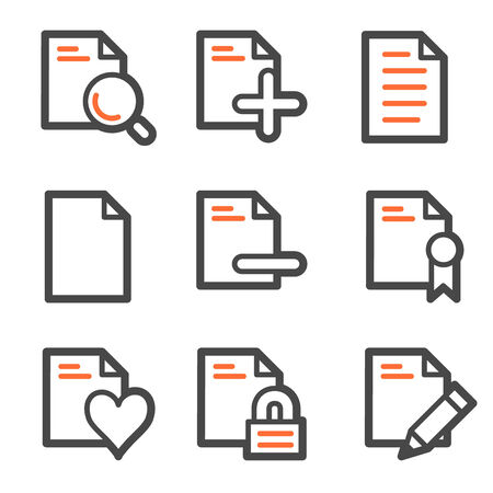 Document web icons set 2, orange and gray contour series Vector