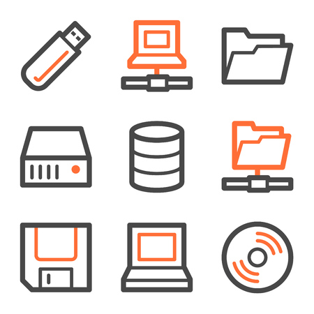 lan: Drives and storage web icons, orange and gray contour series