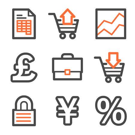 E-business web icons, orange and gray contour series Vector