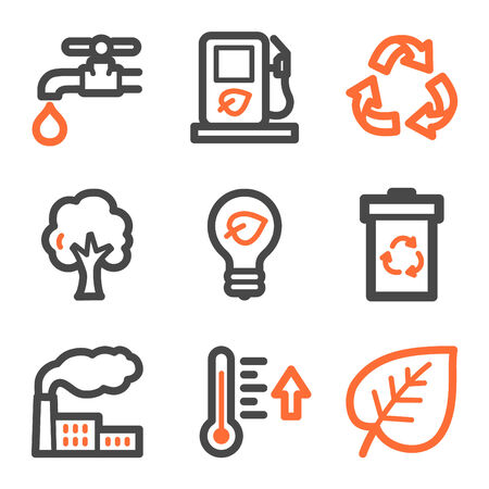 temperature: Ecology web icons, orange and gray contour series Illustration