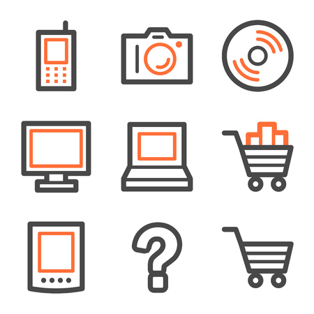 Electronics web icons, orange and gray contour series Vector