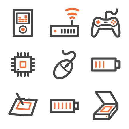 Electronics web icons set 2, orange and gray contour series Stock Vector - 5042222