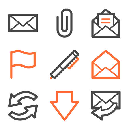 webmail: E-mail web icons, orange and gray contour series Illustration