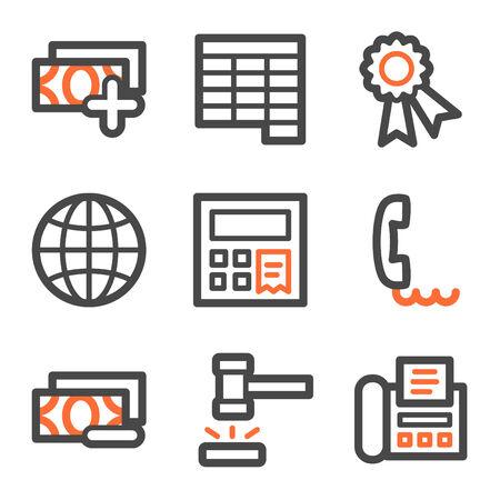 honorarios: Finanzas web iconos conjunto 2, naranja y gris contorno serie Vectores