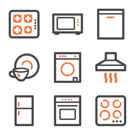 gas laundry: Home appliances web icons, orange and gray contour series