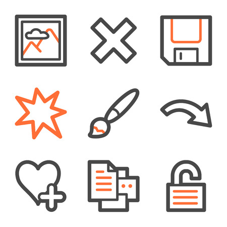 and viewer: Image viewer web icons set 2, orange and gray contour series