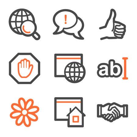 Internet web icons, orange and gray contour series Vector
