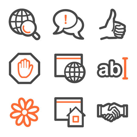 icq: Internet web icons, orange and gray contour series
