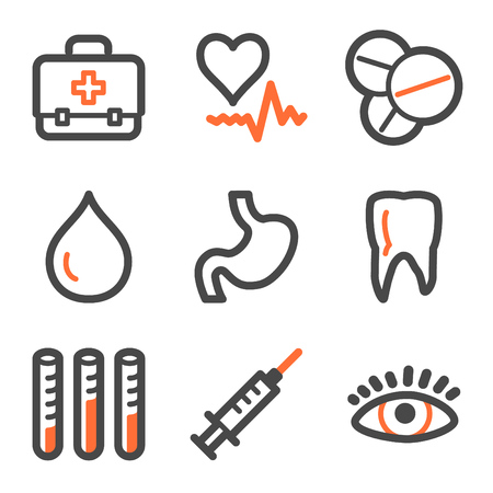 squirt: Medicine web icons, orange and gray contour series