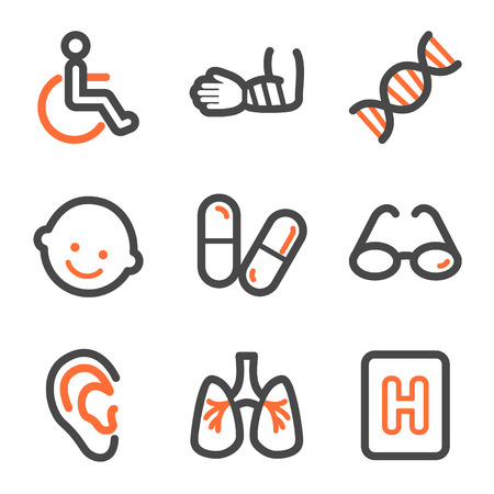 Medicine web icons set 2, orange and gray contour series Vector