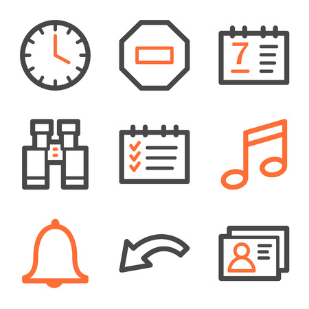 Organizer web icons, orange and gray contour series Vector