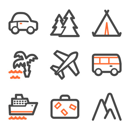 air liner: Travel web icons, orange and gray contour series