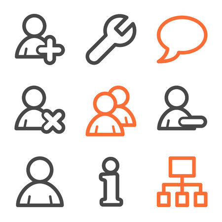Users web icons, orange and gray contour series Vector