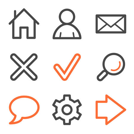 Basic web icons, orange and gray contour series Vector