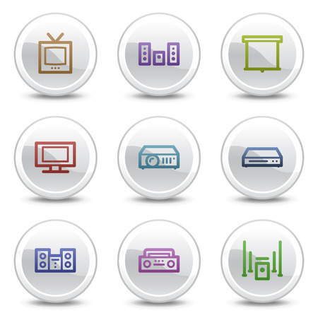 Audio video web colour icons, white circle buttons series Vector