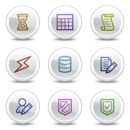 Database web colour icons, white circle buttons series Vector