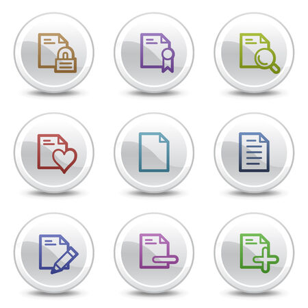 Document web colour icons set 2, white circle buttons series Vector