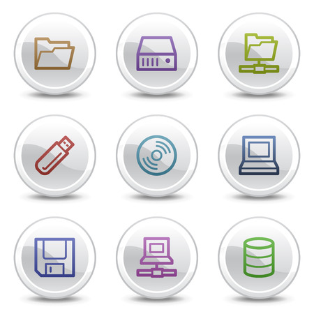 fdd: Drives and storage web colour icons, white circle buttons series