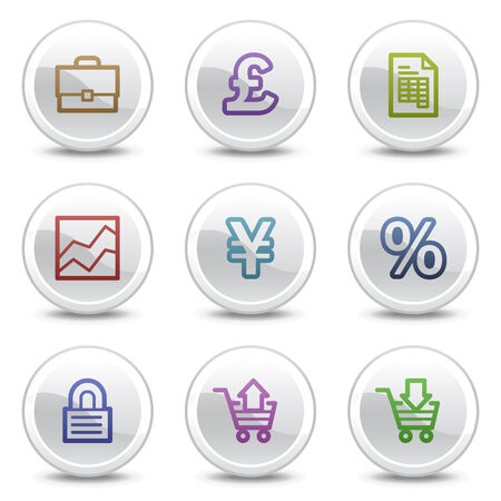 E-business web colour icons, white circle buttons series Vector