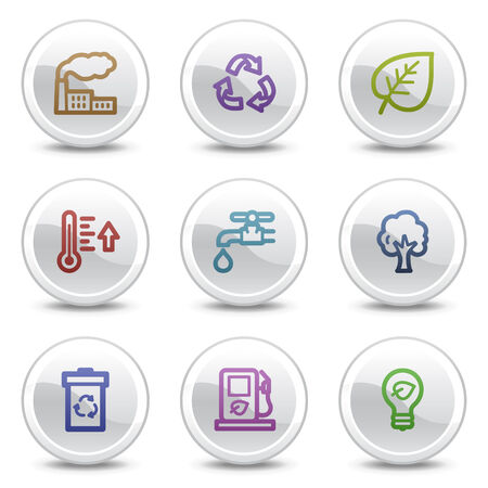 Ecology web colour icons, white circle buttons series Vector