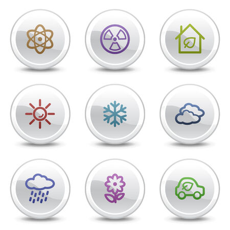 Ecology web colour icons set 2, white circle buttons series Vector